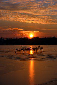 Fishing Net, Lake, Sunset, Fishing, Water, Net, Nature