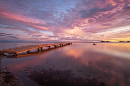 Pier, Boat, Ocean, Sea, Sunset, Sunrise, Nature, Sky