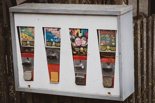 Vending Machine, Chewing Gum, Candy, Old, Vintage