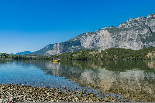 Lake, Mountain, Beach, Pebble Beach, Coast, Rocks