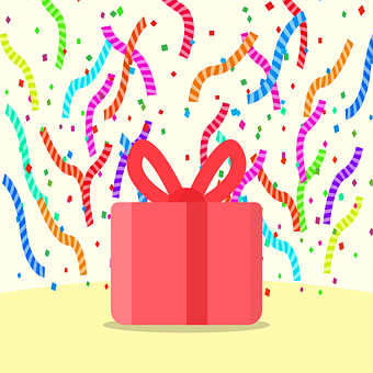 Gift, Confetti, Birthday, Surprise, Red Gift, Box