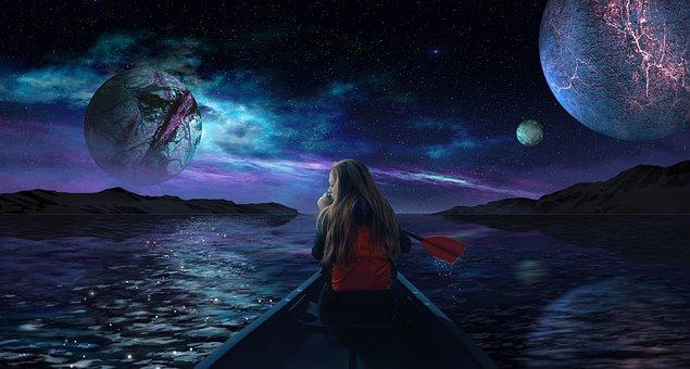 Boat, Rowing, Planets, Fantasy, Space, Galaxy, Moon