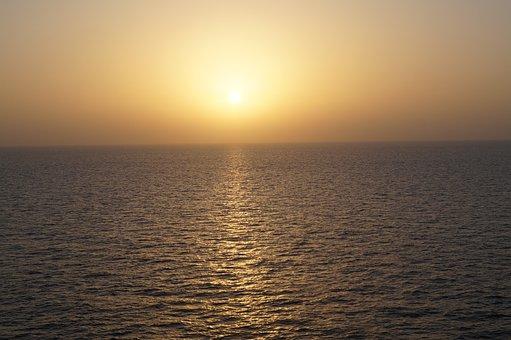 Sunset, Sea, Fog, Sun, Sunlight, Glow, Ocean, Water