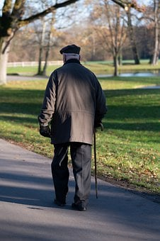 Old Man, Cane, Road, Park, Walk, Senior, Aged, Man