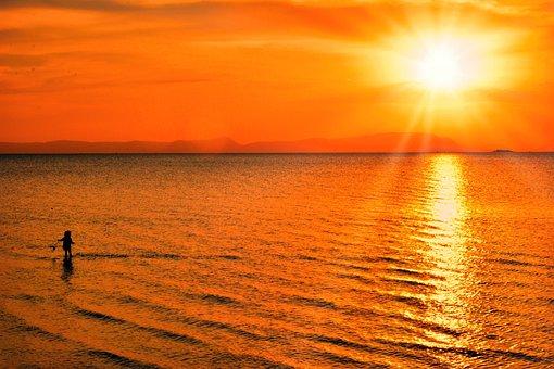 Sunset, Beach, Sea, Ocean, Seascape, Sky, Orange Sky