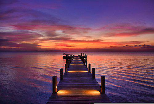 Boardwalk, Sea, Sunset, Beach, Horizon, Sky, Dusk