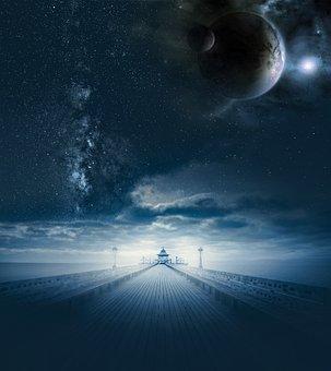 Fantasy, Universe, Road, Planets, Galaxy, Space, Sky