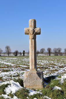 Cross, Statue, Winter, Snow, Sculpture, Stone