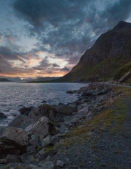 Coast, Sea, Sunset, Mountains, Bay, Ocean, Water, Rocks
