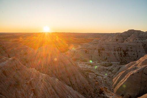 Sunset, Badlands, Desert, Mountains, Desert Mountains