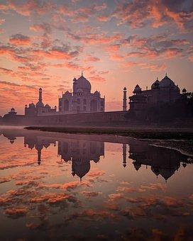 River, Taj Mahal, Sunset, Sunrise, Reflection, Water
