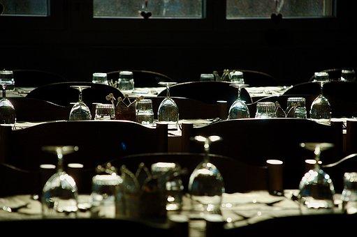 Tables, Glasses, Arranged, Glassware, Stemware