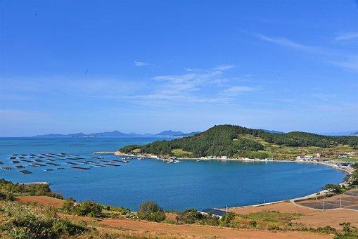 Village, Coast, Ocean, Just, Coastline, Island