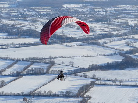 Paragliding, Flying, Motor Screen, Winter, Snow, Cold
