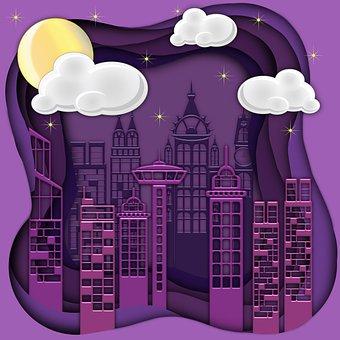 Buildings, Skyscrapers, City, Silhouette, 3d, Night