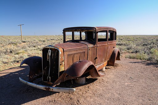 Car, Abandoned, Desert, Rusted, Old, Antique, Auto