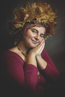 Beauty, Woman, Autumn, Fall, Leaf Crown, Foliage