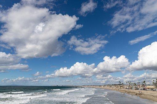 Beach, Coast, Clouds, Sky, Waves, Coastline, Seashore