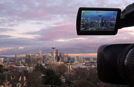 Camera, City, Seattle, Sunset, Dusk, Buildings, Tower