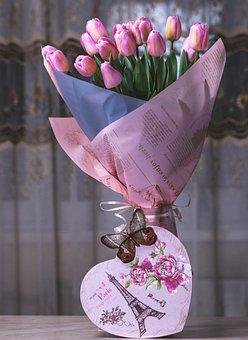 Tulips, Bouquet, Gift, Vase, Flowers, Pink Tulips