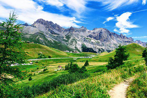 Mountain, Road, Path, Grass, Col Du Lautaret
