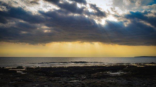 Beach, Clouds, Sea, Ocean, Horizon, Sunbeams, Sunrays