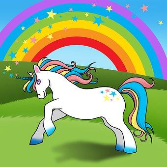 Unicorn, Rainbow, Fantasy, Magical, Horn, Stars, Horse
