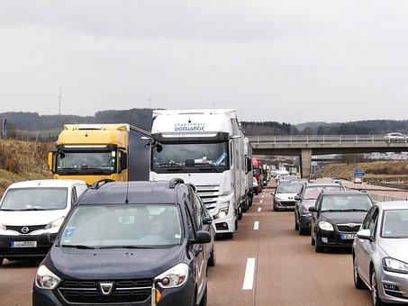 Jam, Highway, Truck, Traffic, Vehicles, Logistics