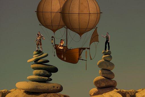 Love Triangle, Airship, Steampunk, Love, Stones