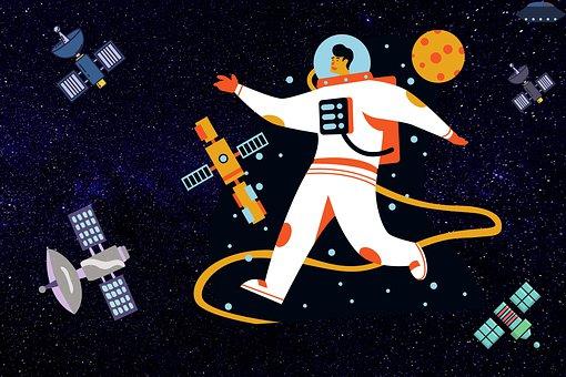 Space, Astronaut, Satellites, Man, Ufo, Stars