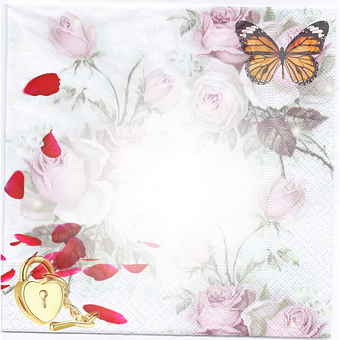 Roses, Flowers, Butterfly, Stationery, Scrapbook, Map