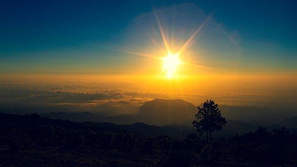 Mountain, Clouds, Sunrise, Sun, Sunlight, Sun Rays