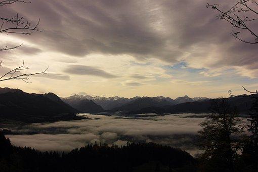 Allgäu, Bavaria, Mountains, Alpine, Fog, Light Snowfall