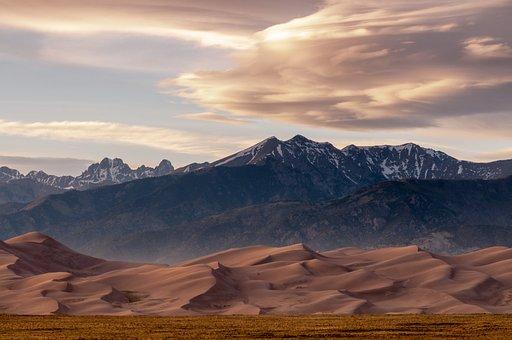 Desert, Sand, Mountains, Dunes, Sand Dunes, Landscape