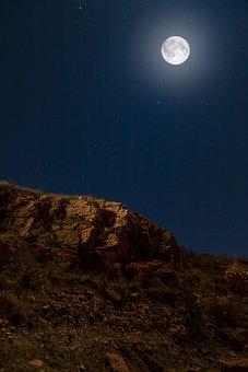 Moon, Mountain, Night, Night Sky, Moonlight, Full Moon