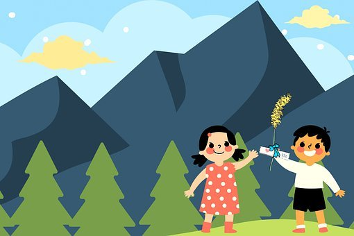 Children, Friends, Mountains, Trees, Nature, Outdoors