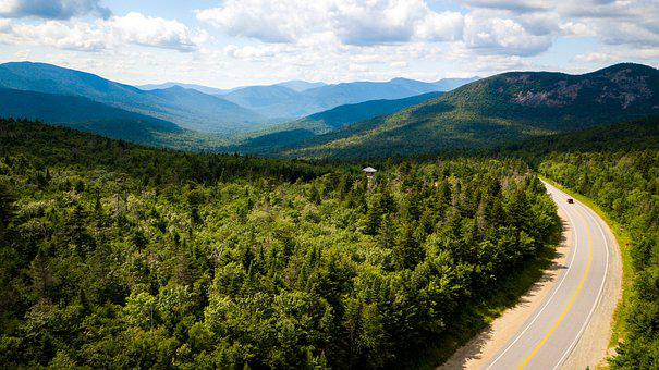 Road, Forest, Mountains, Panorama, Pavement, Curve