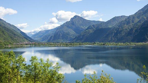 Lake, Mountains, Panorama, Reflection, Water, Trees