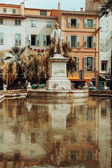 City, Statue, Pond, Sculpture, Water, Reflection