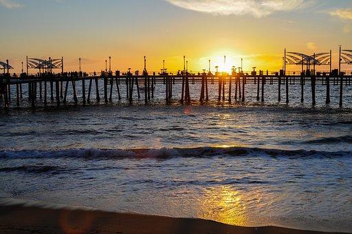 Beach, Pier, Sunset, Sun, Sunlight, Silhouette, Bay