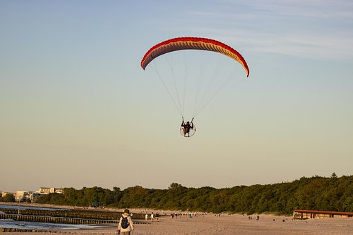 Paragliding, Parachute, Sunset, Sky, Flying, Freedom