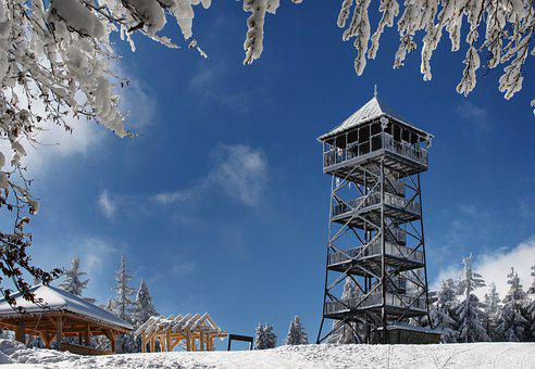 Winter, Watchtower, Trees, Conifers, Tower, Snow, Snowy