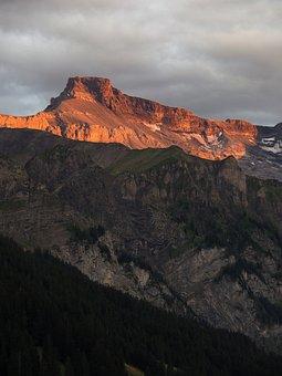 Mountains, Peak, Sunset, Sunlight, Summit