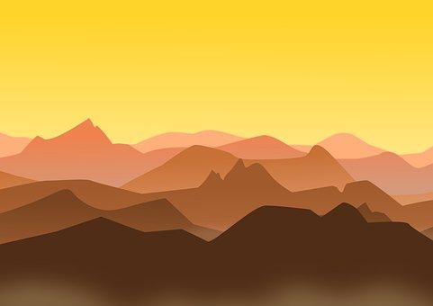 Mountains, Landscape, Sunset, Sunrise, Golden Sky