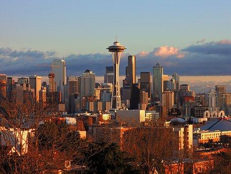 City, Skyscrapers, Seattle, Sunset, Buildings, Skyline