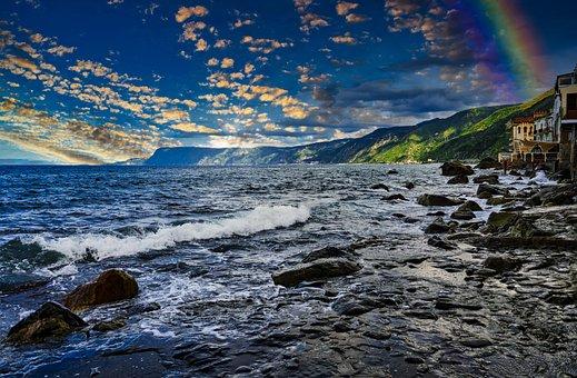 Ocean, Sea, Rocks, Waves, Beach, Water, Sunset, Tide