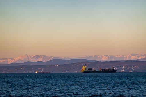Ship, Sunset, Sea, Adriatic, Koper, Slovenia, Travel