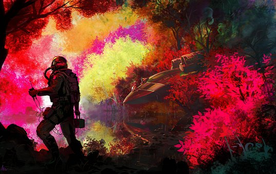 Forest, Man, Digital Art, Lost, Trees, Nature, Colorful