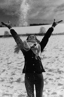 Snow, Woman, Black And White, Winter, Lady, Girl, Happy