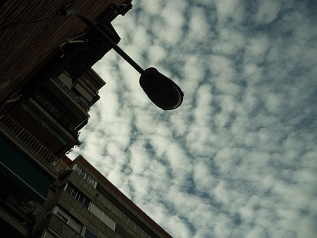 Street Lamp, Arm, Luminary, Sky, Clouds, Contrast, City